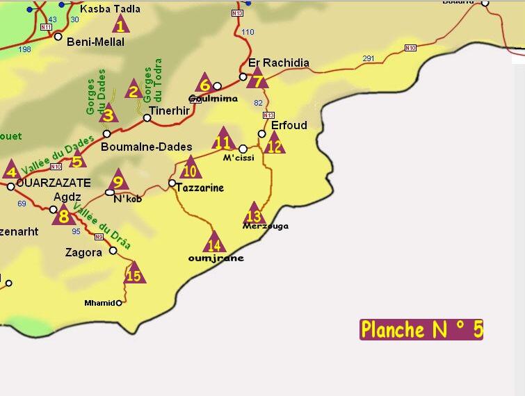 Cartes des zones de campings du Maroc.   CCOMAROC